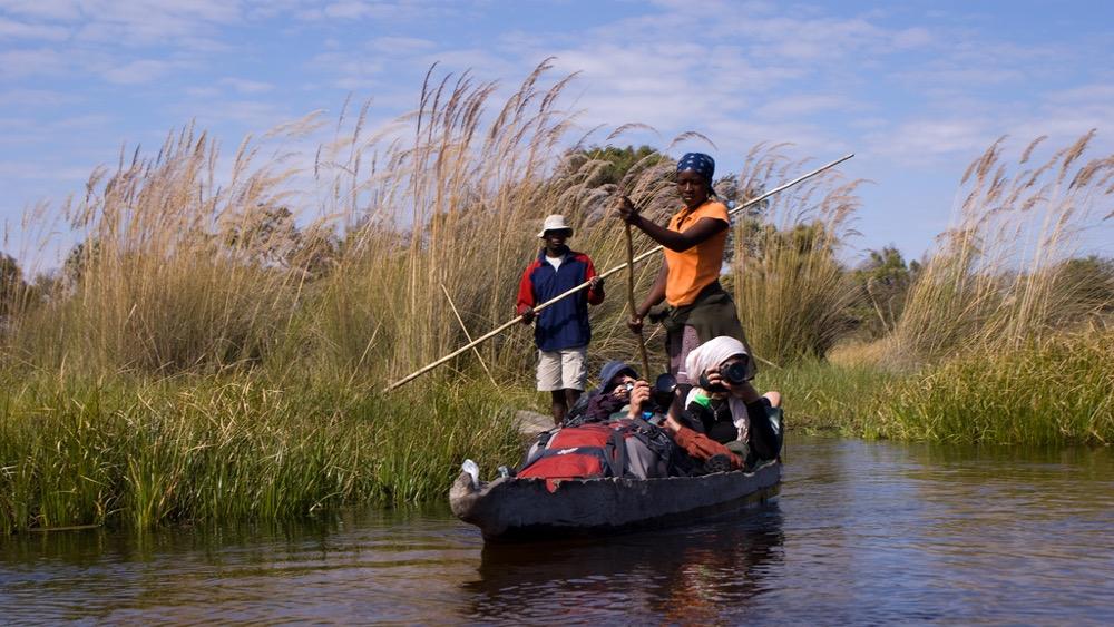 Transport en mokoro per l'Okavango