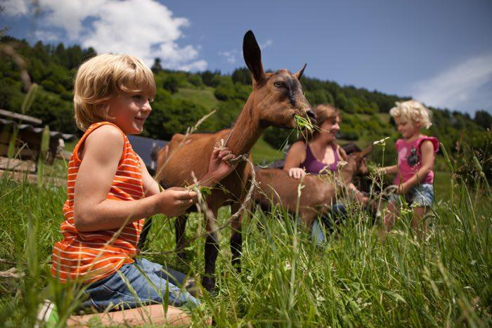 Niños en granjas del Tirol