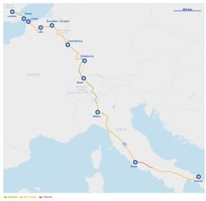 mapa Eurovelo ruta 5